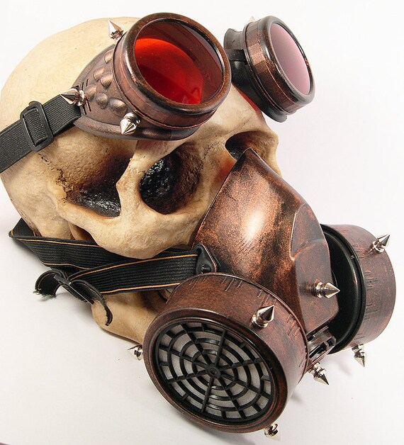 STEAMPUNK GAS MASK - 2 pc Copper Rust Distressed Look Double Filter Respirator Mask and Steampunk Goggles with Spikes- Burning Man Mask