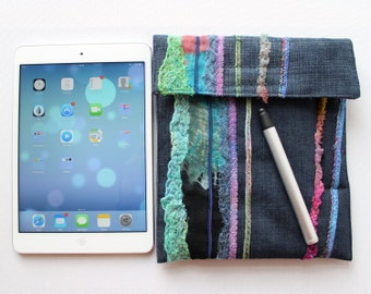 Rainforest iPad mini Case with Stylus Pocket - Denim Padded iPad mini Cover with Embroidered Patterns