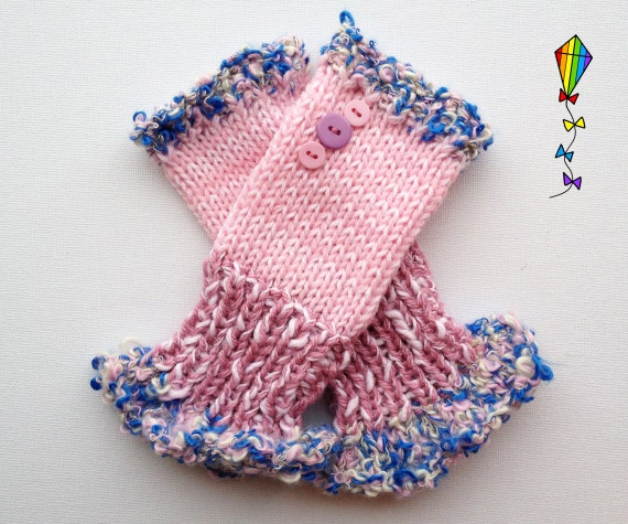 Fingerless Mittens • Daisy Pink Frilly Fingers - Pink Fingerless Mitten Frilled Edging • Pink Gloves with Frills - Fingerless Hand-warmer