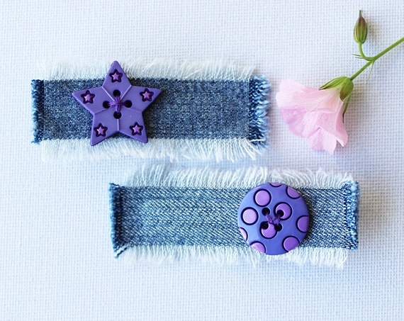Hair Clips Violet Star & Moon Purple Hair Clip Set. Pair of denim violet hair clips, purple hair accessories, denim hair slides with buttons