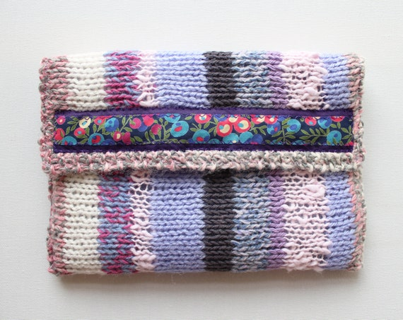 Cherry Blossom Knitted Kindle Cosy - Pastel Kindle Sleeve - Padded Cover for Kindle Paperwhite and similar eReader Tablets