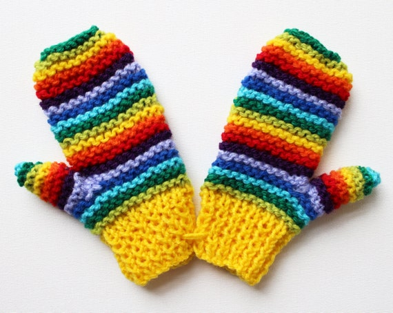 Yellow Rainbow Pixie Mittens - Cheerful and Warm Childs Mittens - Rainbow Gloves for Child