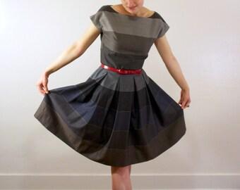Vintage-Inspired Striped Wool Dress