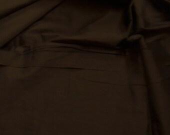 silk dupioni fabric - dark brown 100% pure silk - fat quarter - sld035