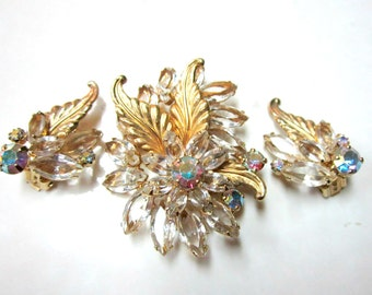 Delizza Elster Juliana Brooch Pin Earrings Set