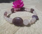 Be Joyful, Healing Stones Bracelet, Rose Quartz, Purple Lepidolite,  Stretchy Bracelet, Natural Gemstone Synergy Bracelet