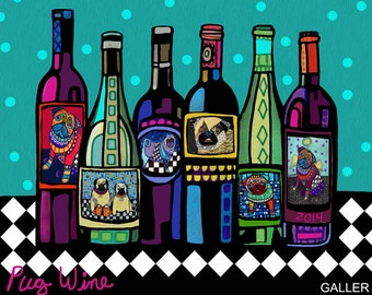PUG ART Wine Bottles Print Poster of Painting by Heather Galler Modern Pop Art Winery Abstract (HG794)