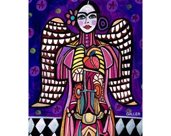 Frida Kahlo female Angel Anatomy Mexican Folk Art  Frida Kahlo Artworks Print Heather Galler Science (HG463)