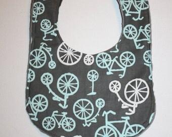 Baby Bib- Bicycles Baby Bib- Baby boy bib or Baby Girl Bib, Minky Bib, Personalized Bibs, Monogram Bib