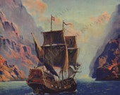 """Reserved for Wendy Vintage Print """"Ye Olde Tyme Ship"""" 1940s"""