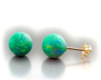8mm Australian Kiwi Green Opal Ball Stud Post Earrings, 14K White or Yellow Gold, Margarita Green Opal Earrings, Ball Stud Earrings