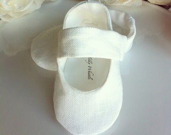 Baby Girl Shoes White Linen, Soft Sole Baby Booties - Flower Girl Shoes - Christening, Baptism