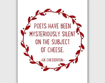 Funny Quote Art Print, typographic, GK Chesterton