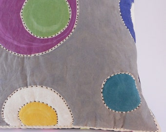 Floating Circles Painted Pillow