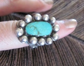 Vintage Heavy Sterling Silver and Turquoise Ring