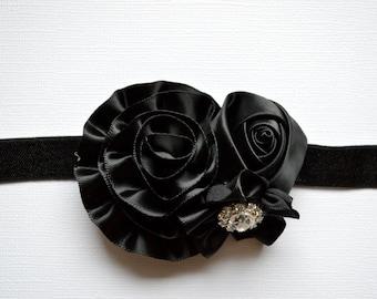 BLACK Flower Girl Headband. Black Flower Headband. Cluster Headband, Baby Hair Accessories, Baby Girls Hair Accessories. Flower Girl. Black