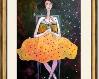 Reading- Print of original painting-Wall decor