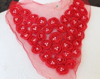 Cute embroidered   and beaded organza  applique red color  1 piece  listing