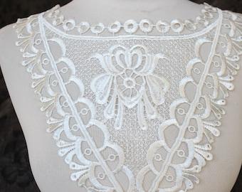 Venice applique yoke white    color