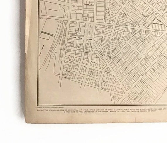 Vintage 1930 39 S Map Of The Business Center Of Rochester