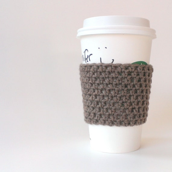 Crocheted coffee sleeve/cuff/cozy in oatmeal [vegan]