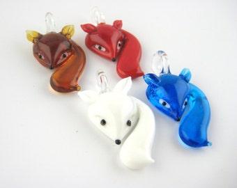 2pcs Glass Lampwork Beads - Lampwork Pendant - Lampwork Focal Bead - Glass Fox Beads - Colorful Glass Fox Pendant Charms - Red Fox Beads