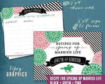 Derby Mums. Recipe for Spicing up Married Life. Recipe Advice Cards. Printable Cards by Tipsy Graphics. Any colors