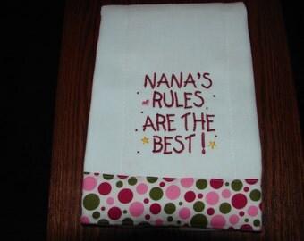 Burp Cloth, Diaper Burp Cloth, Nana's Rules Are The Best