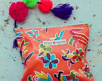 Pencil Case / Clutch Makeup Bag in Mexican Vintage print Oilcloth