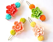 Girls Big Flower Barrette, Girls Flower Hair Pin, Stocking Stuffers for Girls, Flower Girl Gift