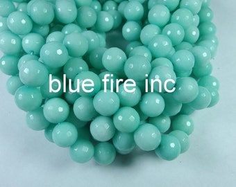 14mm 16 inch long faceted round light green color dyed jade beads