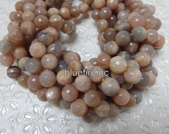 37 pcs round faceted Natural color peach Moonstone beads in 10mm