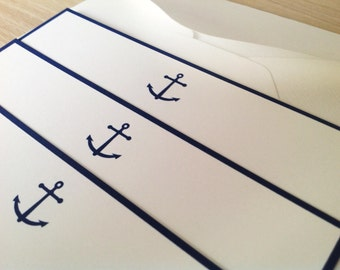 Navy Blue Border Flat Note Cards - Nautical - Anchor - Dark Blue - Set of 10