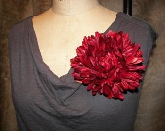 Classic Burgandy Chrysanthemum Floral Pin