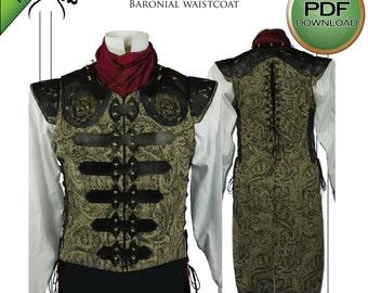 "Mens Steampunk Vest / Waistcoat Sewing pattern.  PDF. Prints on USA letter / A4. Size 38"" - 42"""