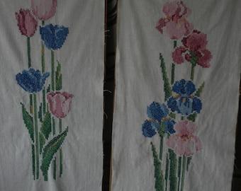 Vintage Cross Stitch Tulip/Iris Pair Wall Hangings