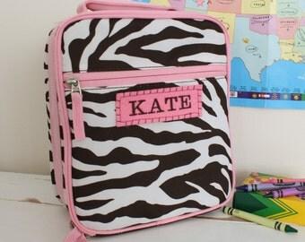 Girls Lunchbox With Monogram -- Chocolate Zebra
