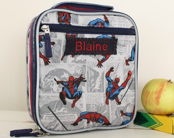 Spiderman Kids Lunch Box Personalized (Pottery Barn) -- Allover Spiderman