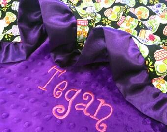 Cotton Sugar Skull with Purple Dot Minky and Purple Ruffle