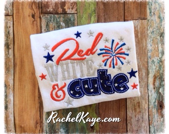 Patriotic 4th of July appliqué shirt Red, White, and Cute for boys or girls for Independence Day and Memorial Day