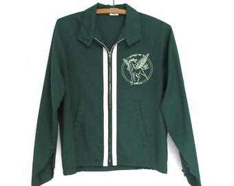 Spirit of '76 Vintage School Jacket   Dark Green Pegasus Windbreaker    Youth Large Women Small
