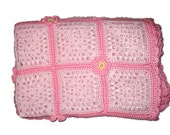Crochet Baby Light Pink Squares and Pretty Pink Posy Flowers Handmade Soft Baby Infant Blanket Afghan Girly Baby Girl Shower Gift Present