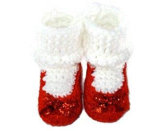 Dorothy's Ruby Red Sparkle Slippers Crochet Shoes with White Socks Inspired by Wizard of Oz for Baby Infant 3-6 Months Size