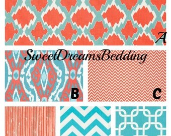 Custom Crib Bedding You Design   Bumper and Bedskirt in Coral and Aqua