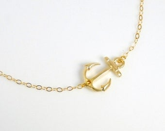 Sideways anchor necklace in gold, 14K gold filled necklace