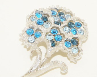 Vintage Coro Blue Rhinestone Flower Brooch