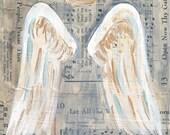 angel wings and halo, art print, angel art, angel art print, angel wings, gold halo, gold angel, blue grey, angel wall art