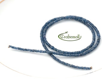 """25% OFF SALE: Sapphire 3x1mm faceted rondelle - 41mm (16"""") strand"""
