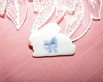 White Ceramic Rabbit Button with Blue Bow