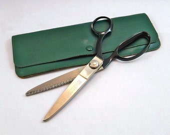 Vintage Wiss Pinking Shears - Scissors with Leather Case